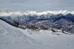 Olympic ski trail Rosa Khutor. Royalty Free Stock Image