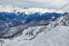 Olympic ski trail Rosa Khutor. Royalty Free Stock Images