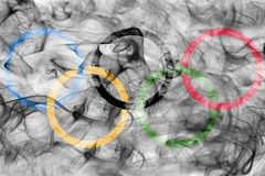 Olympic smoke flag isolated on a white background. Olympic smoke flag isolated on a white background stock photography