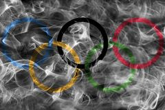 Olympic smoke flag. Isolated on a black background Stock Images