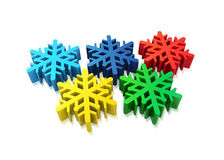Olympic snowflakes. 3d winter olympic concept of five snowflakes on white Stock Photos