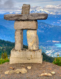 Olympic spirit. Inukshuk at the top of Whistler Mountain Stock Images