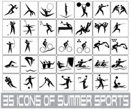 Olympic sports bw. Icons of summer sports for olympic games Royalty Free Stock Images