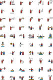 Olympic sports icons. A set of 60 colored icons illustrating various Olympic sports including archery, pole vault, javelin, cycling, acrobatics, skulls, yacht Stock Image