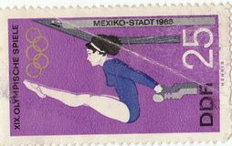Olympic sports. Postage stamp Mexico City Olympic sports1968 stock photo
