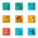 Olympic sports. Winter and summer sports. A set of pictures about athletes.Olympic sports icon in set collection on flat Stock Photography