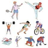Olympic sports. Winter and summer sports. A set of pictures about athletes.Olympic sports icon in set collection on. Cartoon style vector symbol stock web royalty free illustration