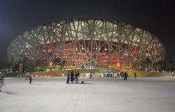 olympic stadion för beijing natt Arkivfoton