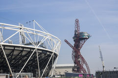 Olympic Stadium 2012. LONDON, UK – MARCH 24: Detail of London Olympics Stadium and Anish Kapoor's sculpture in the background on March 24, 2012 in London. The Stock Images