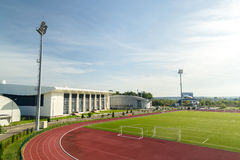 Olympic Stadium. Empty Olympic Stadium Arena With Football Field And Racing Tracks Royalty Free Stock Image