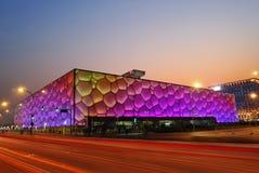 Olympic Stadium. Beijing's swimming Olympic Stadium (watercube) illuminated at dusk Royalty Free Stock Images