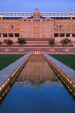 Olympic stadium in Barcelona. Fountain at dusk Royalty Free Stock Photography