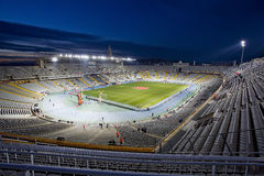 Olympic Stadium in Barcelona, Spain. The national football team of Catalonia beat Cape Verde 4-1 at the annual Christmas friendly match in Lluís Companys Royalty Free Stock Photography