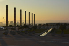 The Olympic Stadium of Barcelona at sunset, Spain Stock Images