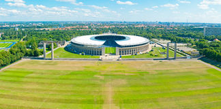 Olympic Stadium in Berlin. A panorama photo of the olympic stadium in Berlin surrounded by parts of the Reichssportfeld. So called Olympiastadion, built in 1936 Stock Image