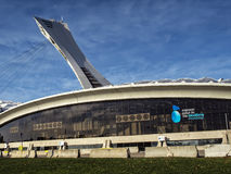 The Olympic Stadium. French: Stade olympique is a multi-purpose stadium in Canada, located at Olympic Park in the Hochelaga-Maisonneuve district of Montreal Royalty Free Stock Photography