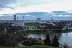 Olympic Stadium i Olympia parkerar Munich Tyskland Arkivfoton