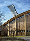 The Olympic Stadium mast. The Olympic Stadium (French: Stade olympique) is a multi-purpose stadium in Canada, located at Olympic Park in the Hochelaga Royalty Free Stock Photo