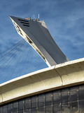 The Olympic Stadium mast. The Olympic Stadium French: Stade olympique is a multi-purpose stadium in Canada, located at Olympic Park in the Hochelaga-Maisonneuve Royalty Free Stock Photos