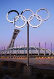 Olympic stadium montreal. Olympic stadium in Montreal and olympic rings, Canada built in 1976 for summer Olympic and is currently the largest in Canada with is 1 Royalty Free Stock Images