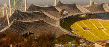 Olympic stadium in morning light. Closeup of Munich's Olympic stadium in early morning sunlight Stock Photo
