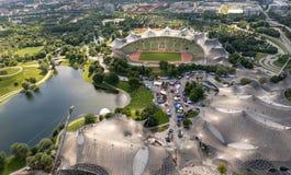 Olympic Stadium Munich, flyg- sikt royaltyfri bild