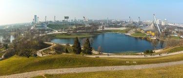 Olympic Stadium Munich panorama skyline Stock Photo