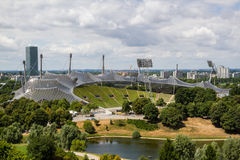 Olympic Stadium Munich. Photo of Olympic Stadium in Munich taken from top of the hill in Olympic Parc Royalty Free Stock Images