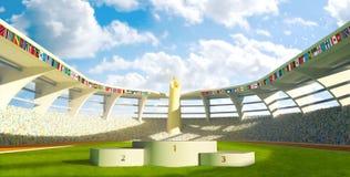 Olympic Stadium with podium. For athletes awards Royalty Free Stock Photo
