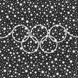 Olympic style silver falling stars shining background Royalty Free Stock Image