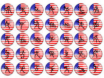 Olympic summer game USA flag. Summer olympic sports red buttons with silhouette signs on USA flag background Royalty Free Stock Photo