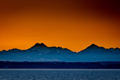 Sunset over mountains in Olympic National Park, Washington
