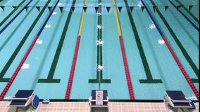 Olympic Swimming Pool. With competition lanes stock video footage