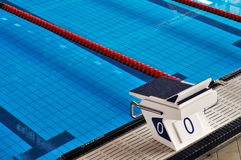 Olympic swimming pool detail, starting place Stock Photo