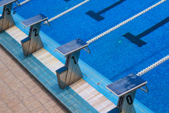 Olympic swimming pool. Empty olympic swimming pool with clear blue water Royalty Free Stock Image