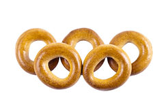 Olympic symbol. Bagels, folded in the form of Olympic rings on a white background Royalty Free Stock Image