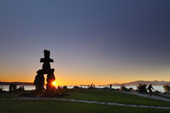 Olympic symbol - Inukshuk at English Bay. Vancouver stock image