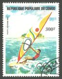 Olympic symbols, Olympic Games. Congo - stamp 1984, Memorable multicolor air mail issue of offset printing with Olympic symbols, Olympic Games, Sport, Series Stock Photo