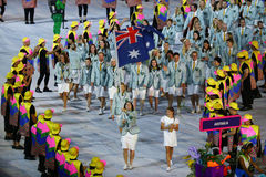 Olympic team Australia marched into the Rio 2016 Olympics opening ceremony at Maracana Stadium in Rio de Janeiro Stock Photography