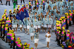 Olympic team Australia marched into the Rio 2016 Olympics opening ceremony at Maracana Stadium in Rio de Janeiro Stock Images