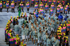 Olympic team Australia marched into the Rio 2016 Olympics opening ceremony at Maracana Stadium in Rio de Janeiro Royalty Free Stock Photography