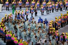 Olympic team Australia marched into the Rio 2016 Olympics opening ceremony at Maracana Stadium in Rio de Janeiro Stock Image