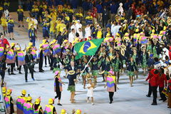 Olympic team Brazil marched into the Rio 2016 Olympics opening ceremony Stock Photos