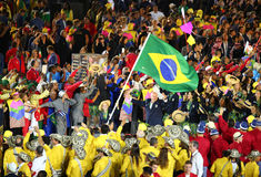 Olympic team Brazil marched into the Rio 2016 Olympics opening ceremony Stock Photo