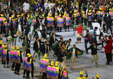 Olympic team Brazil marched into the Rio 2016 Olympics opening ceremony at Maracana Stadium in Rio de Janeiro Stock Photo