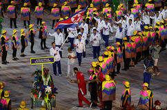 Olympic team the Democratic People`s Republic of Korea marched into the Rio 2016 Olympics opening ceremony Stock Photo