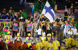 Olympic team Finland marched into the Rio 2016 Olympics opening ceremony. RIO DE JANEIRO, BRAZIL - AUGUST 5, 2016: Olympic team Finland marched into the Rio 2016 Stock Images