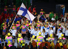 Olympic team Finland marched into the Rio 2016 Olympics opening ceremony. RIO DE JANEIRO, BRAZIL - AUGUST 5, 2016: Olympic team Finland marched into the Rio 2016 Stock Photography