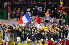 Olympic team France marched into the Rio 2016 Olympics opening ceremony Stock Images