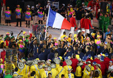 Olympic team France marched into the Rio 2016 Olympics opening ceremony Royalty Free Stock Image